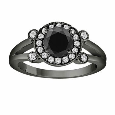 Fancy Black & White Diamond Engagement Ring Vintage Style 14k Black Gold 1.03 Carat Certified Unique Halo Handmade