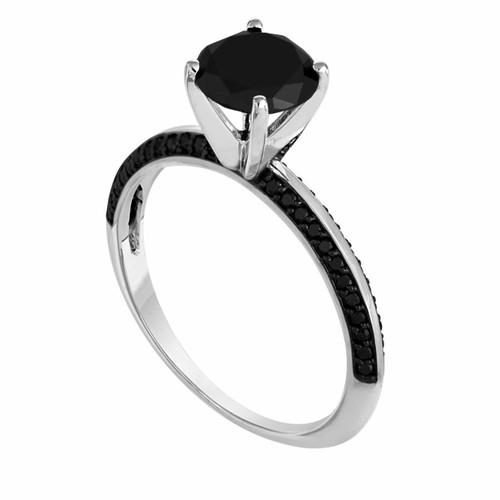 1.79 Carat Fancy Black Diamond Engagement Ring 14K White Gold Micro Pave Set handmade