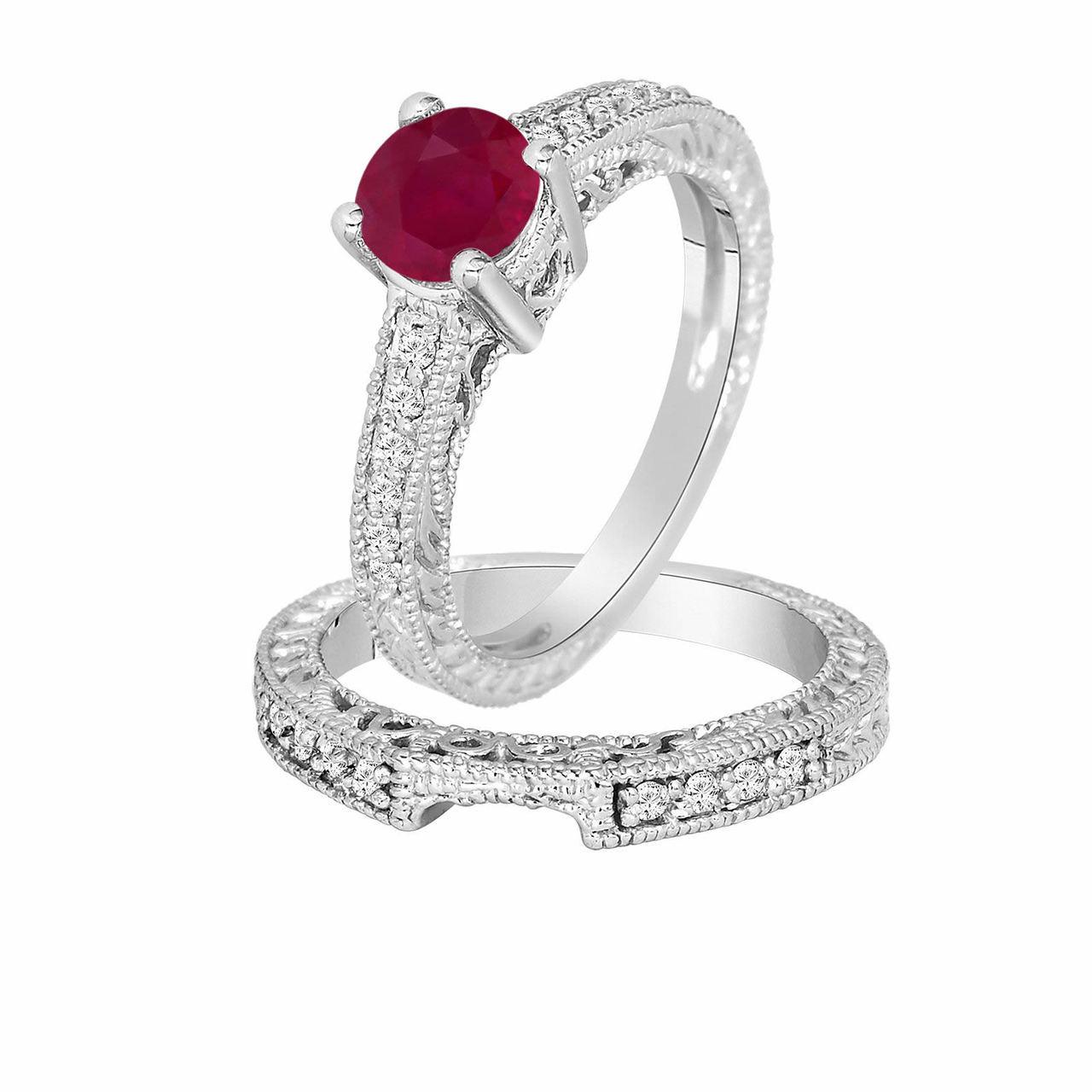 0 87 Carat Ruby Diamond Engagement Ring Wedding Anniversary Band