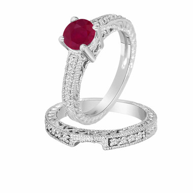 0.87 Carat Ruby & Diamond Engagement Ring Wedding Anniversary Band Sets 14K White Gold Vintage Style Certified HandMade