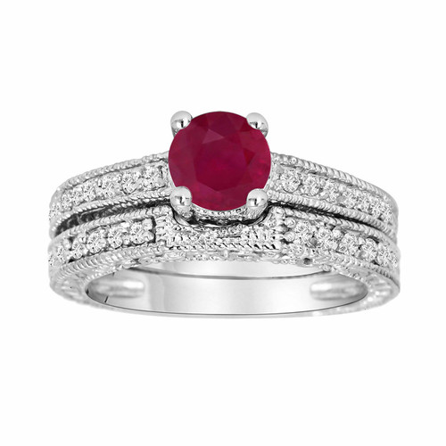 1.30 Carat Ruby & Diamond Engagement Ring Wedding Anniversary Band Sets 14K White Gold Vintage Style Certified HandMade