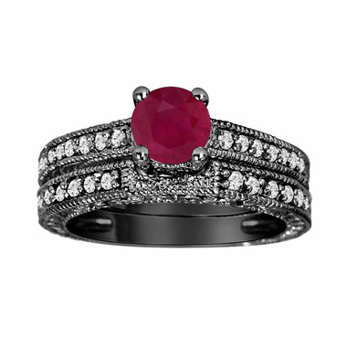 Ruby & Diamond Engagement Ring Wedding Band Sets Vintage Style 14K Black Gold 0.87 Carat Certified HandMade