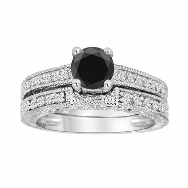 Fancy Black Diamond Engagement Ring Wedding Band Sets 14K White Gold 0.87 Carat Antique Style Engraved