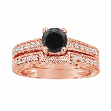 14K Rose Gold Fancy Black Diamond Engagement Ring Wedding Anniversary Band Sets Vintage Style 1.02 Carat Certified HandMade