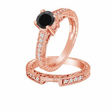 14K Rose Gold Black & White Diamond Engagement Ring And Wedding Band Sets1.32 Carat Vintage Style Certified
