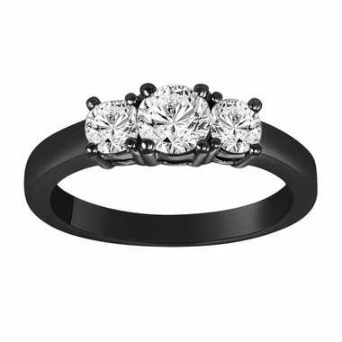 0.96 Carat Three Stone Diamond Engagement Ring Vintage Style 14K Black Gold HandMade Ring