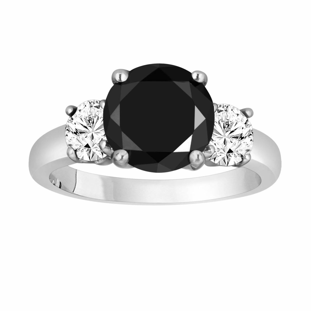 b7bb80c4a7b Platinum Black & White Diamond Three-Stone Engagement Ring 2.60 Carat  Handmade Unique Certified