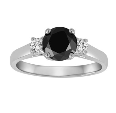Platinum Black Diamond Three Stone Engagement Ring 1.25 Carat Handmade