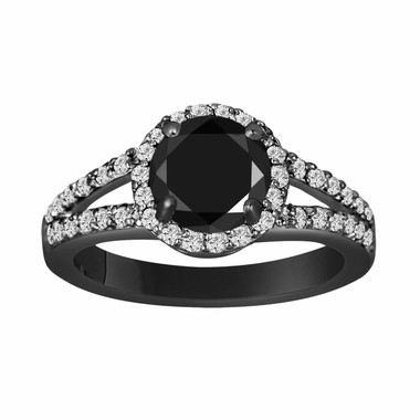 Fancy Black & White Diamond Engagement Ring 2.00 Carat Halo Vintage Style 14K Black Gold Handmade Split Shank