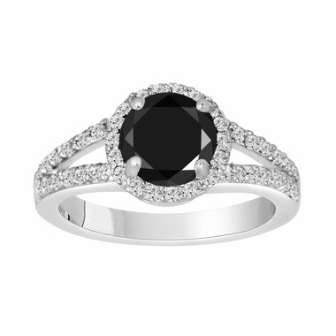 2.00 Carat Fancy Black & White Diamond Engagement Ring Halo 14K White Gold Handmade Split Shank