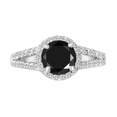 Platinum Black & White Diamond Engagement Ring 2.00 Carat Halo Handmade Split Shank