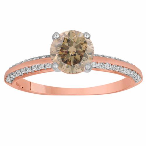0.96 Carat Certified 14K Rose Gold Champagne & White Diamond Engagement Ring Micro Pave HandMade Bridal Petite Ring