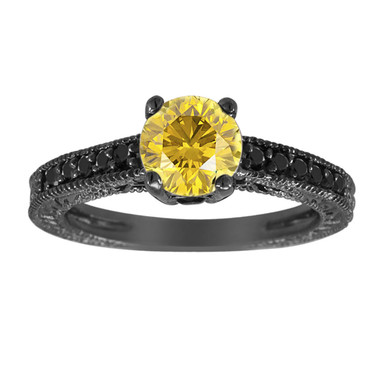 Fancy Yellow & Black Diamonds Engagement Ring Vintage Style 14K Black Gold 1.25 Carat Antique Style Engraved Handmade
