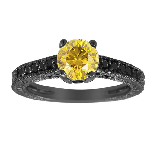 Fancy Yellow & Black Diamonds Engagement Ring Vintage Style 14K Black Gold 1.25 Carat Antique Style Engraved Handmade
