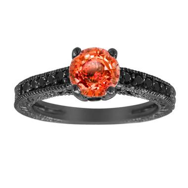 Orange Sapphire & Black Diamonds Engagement Ring Vintage Style 14K Black Gold 1.09 Carat Pave Set Birthstone Antique Style Engraved Handmade