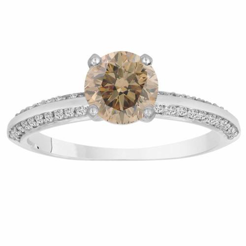 Champagne & White Diamond Engagement Ring 1.27 Carat Certified 14K White GoldMicro Pave HandMade Bridal Petite Ring