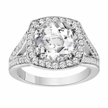 3.62 Carat White Topaz & Diamond Engagement Ring 14k White Gold handmade Bridal Ring