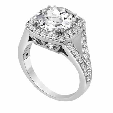 950 Platinum 3.62 Carat White Topaz & Diamond Engagement Ring handmade Bridal Ring