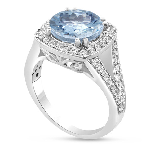 950 Platinum Aquamarine & Diamond Engagement Ring 2.90 Carat Pave Set Halo HandMade Certified
