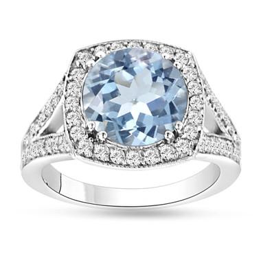 Aquamarine & Diamond Engagement Ring 14K White Gold 2.90 Carat Pave Set HandMade Certified