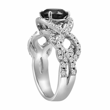 14K White Gold 1.96 Carat Certifid Unique Fancy Black & White Round Diamond Engagement Ring Hand Made Ring