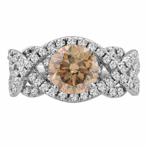 Brown Champagne Diamond Engagement Ring 14K White Gold 1.90 Carat Certified Unique Handmade