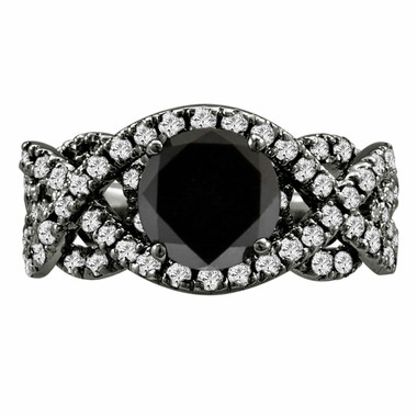 Natural Black Diamond Engagement Ring Vintage Style 14K Black Gold 1.96 Carat Certified Unique HandMade Ring
