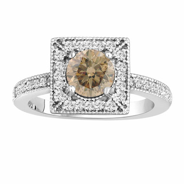 Natural Champagne Brown Diamond Engagement Ring 1.34 Carat 14K White Gold Halo Handmade