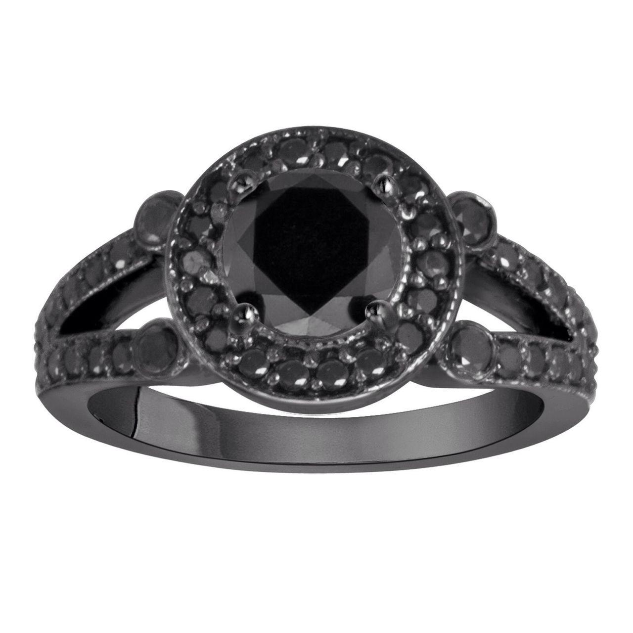 Black Diamond Wedding Ring.Black Diamond Engagement Ring 14k Black Gold 1 60 Carat Unique Halo Handmade