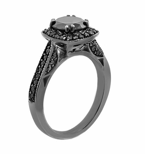 Fancy Black Diamonds Engagement Ring Vintage Style 14K Black Gold 1.50 Carat Certified Pave Set HandMade