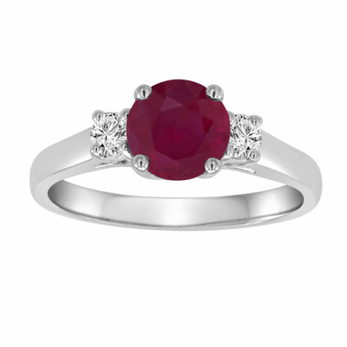 Red Ruby & Diamond Three Stone Engagement Ring 14K White Gold 1.24 Carat Birthstone Handmade