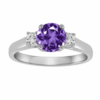 Amethyst & Diamond Three Stone Engagement Ring 14K White Gold 1.27 Carat VS1 Purple Birthstone Handmade