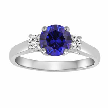 Blue Sapphire & Diamond Three Stone Engagement Ring 14K White Gold 1.22 Carat Birthstone Handmade