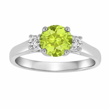 Peridot & Diamond Three Stone Engagement Ring 14K White Gold 1.24 Carat VS1 Birthstone Handmade