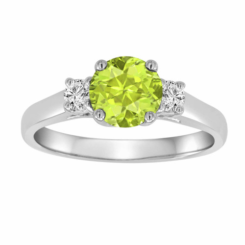 Peridot & Diamond Three Stone Engagement Ring 14K White Gold 1.24 Carat VS1 Birthstone Handmade