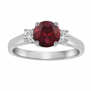 Red Garnet & Diamond Three Stone Engagement Ring 14K White Gold 1.24 Carat VS1 Birthstone Handmade