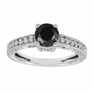 Fancy Black & White Diamond Engagement Ring 14k White Gold Vintage Antique Style 1.20 Carat VVS1 Certified Pave Set HandMade