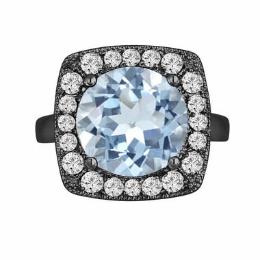 Aquamarine & Diamond Engagement Ring 5.30 Carat Vintage Style 14k Black Gold Unique Design Halo Ring handmade