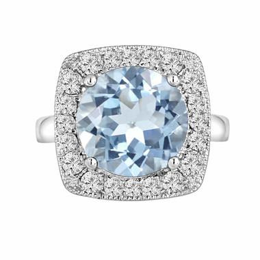 Aquamarine & Diamond Engagement Ring 5.49 Carat 14k White Gold Unique Design Halo Ring handmade