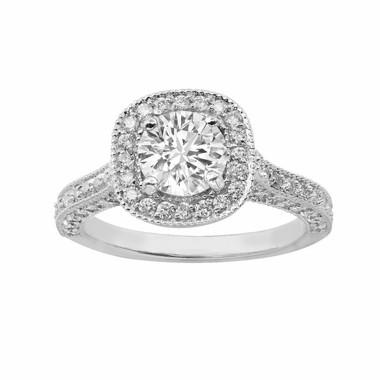Platinum Diamond Engagement Ring 1.84 Carat Halo Certified HandMade Pave Set