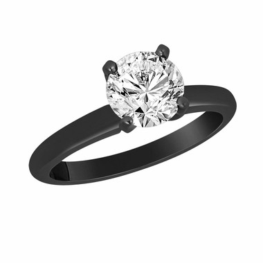 0.50 Carat Solitaire Diamond Engagement Ring Vintage Style 14K Black Gold Certified handmade