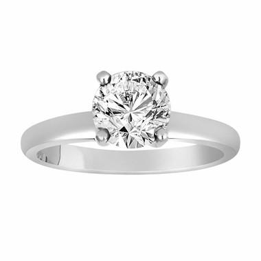 1.01 Carat Solitaire Diamond Engagement Ring 950 Platinum Certified Handmade