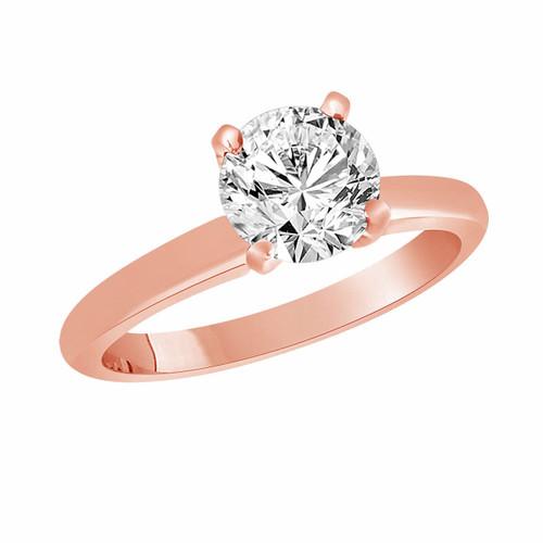 0.50 Carat Solitaire Diamond Engagement Ring 14K Rose Gold Certified handmade