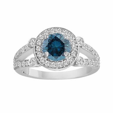 18k White Gold Fancy Blue & White Diamond Engagement Ring 1.54 Carat Certified Unique Halo Split Shank HandMade