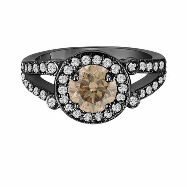 Champagne Brown Diamond Engagement Ring Vintage Style 14k Black Gold 1.54 Carat Certified Unique Halo Split Shank HandMade