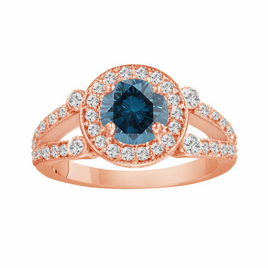 14k Rose Gold Fancy Blue Diamond Engagement Ring 1.54 Carat Unique Halo Certified Split Shank HandMade