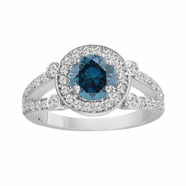 950 Platinum Fancy Blue & White Diamond Engagement Ring 1.56 Carat Certified Unique Halo Split Shank HandMade