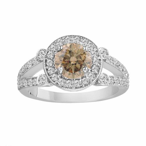Diamond Engagement Ring 18k White Gold Champagne & White Diamond Halo Engagement Ring 1.54 Carat Certified Unique Split Shank HandMade