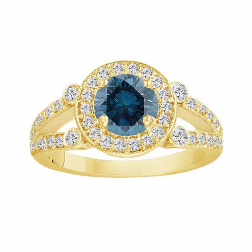 Fancy Blue & White Diamond Engagement Ring 14k Yellow Gold 1.54 Carat Unique Halo Certified Split Shank HandMade
