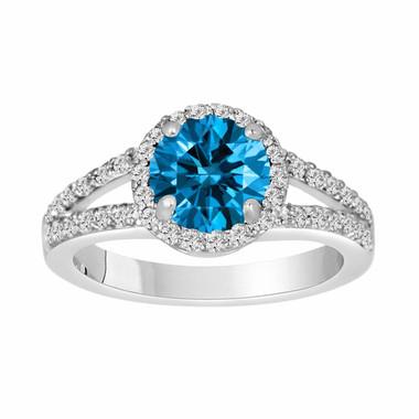 Fancy Blue Diamond Engagement Ring 1.94 Carat 14K White Gold Certified HandMade Ring Pave Set